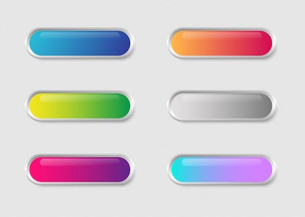 白い背景に分離されたカラフルな明るい光沢のあるボタンweb。