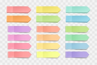 Colorful bright sticky notes, pack of stickers with shadows