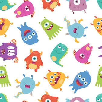 Colorful, bright vector seamless pattern with funny monsters, freaks on a white background.