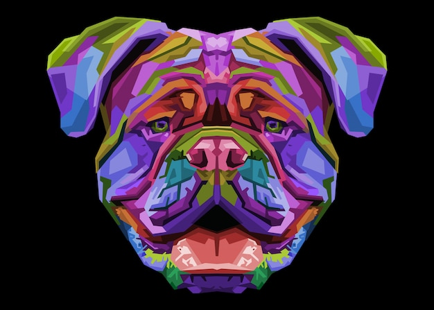 Colorful british bulldog on pop art style.