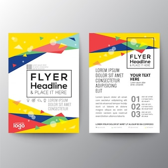 Colorful brochure with triangular shapes