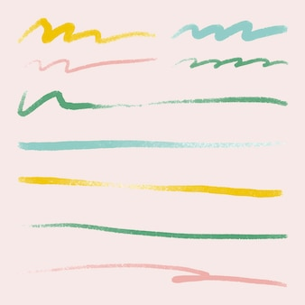Insieme di vettore dell'elemento tratto pennello colorato