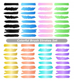 Colorful brushes strokes vector collection set.