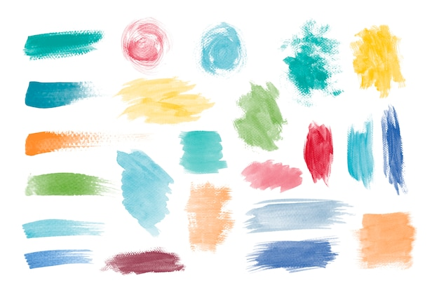 Colorful brushstroke design vector set