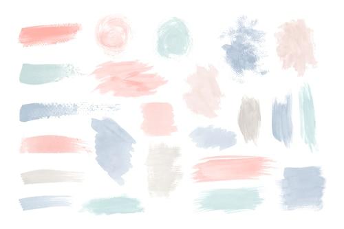 Colorful brushstroke design vector set