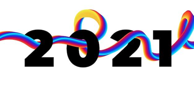 Colorful brushstroke liquid  2021 happy new year