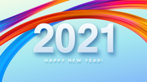 Colorful brushstroke paint lettering calligraphy of happy new year background.