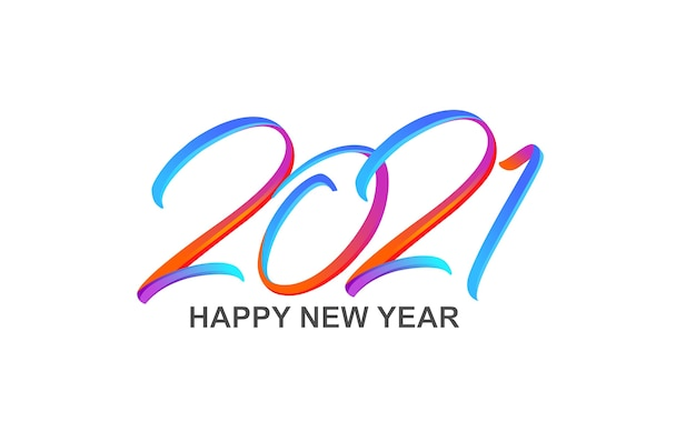 Colorful brushstroke paint lettering calligraphy happy new year