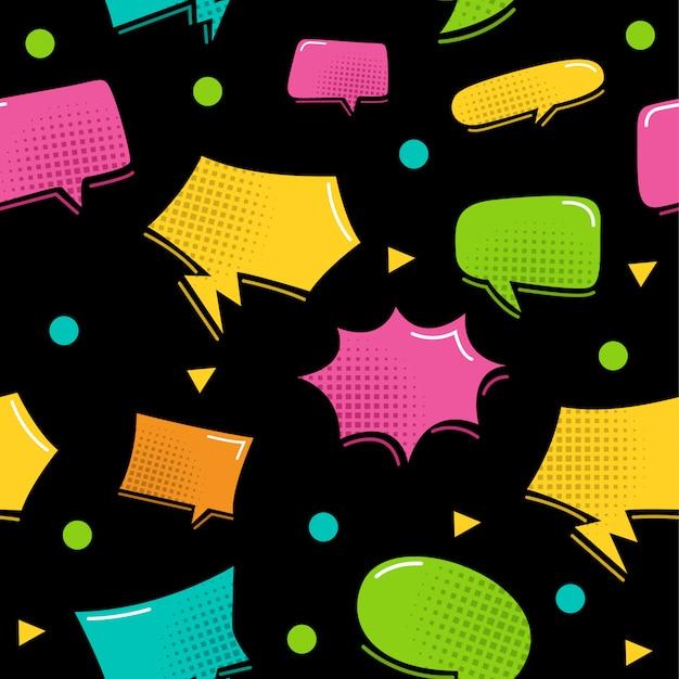Colorful bubble speech seamless pattern
