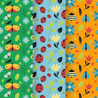 Colorful bug pattern collection