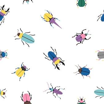 다채로운 버그 완벽 한 패턴입니다. 식물 아이콘 세트의 만화 귀여운 곤충, 흰색 배경에 고립 된 곤충학의 과학의 벡터 일러스트 딱정벌레