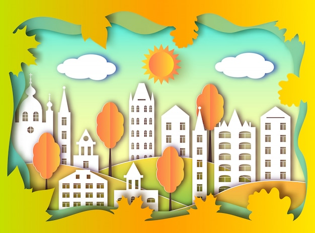 Colorful building of big city. paper art style