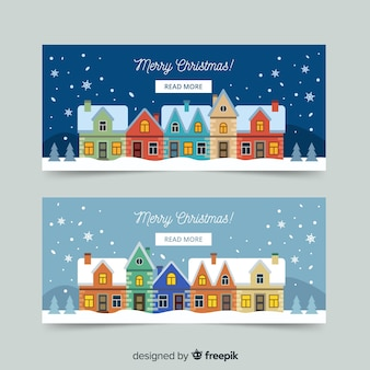 Colorful buildings christmas town banner