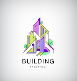 화려한 건물, 도시 스카이 라인 로고, 라인 건설 플랫 스타일.