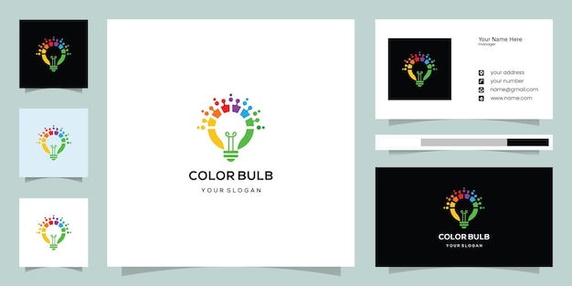 Colorful bulb design and business card template
