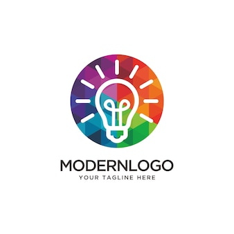 Colorful bulb logo design