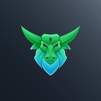 Красочная иллюстрация дизайна логотипа быка