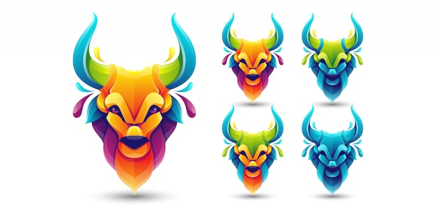 Colorful bull pack logo template