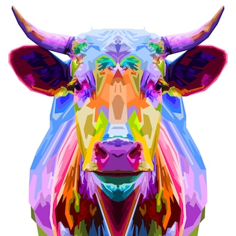 Colorful bull pop art style isolated on white background. illustration