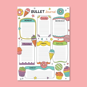Colorful bullet journal planner template