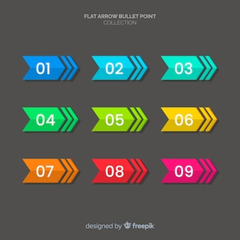 Colorful bullet point collection