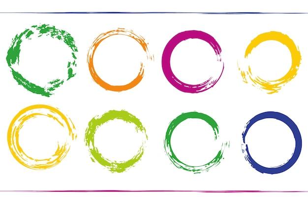 虹の円の枠が付いたカラフルなバンドル。グランジベクターデザイン要素