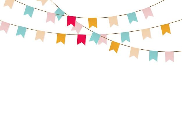 カラフルなホオジロと花輪。旗が付いているカーニバルの花輪
