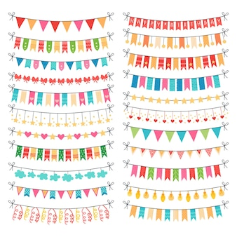 Colorful bunting and bright garland set isolated