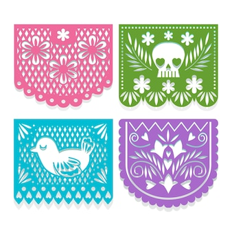 Colorful bunting collection with mexican theme