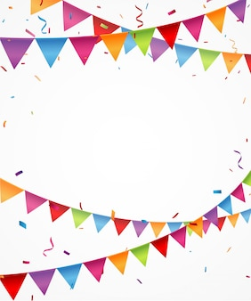 Colorful bunting flags with confetti