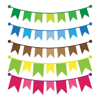 Colorful bunting and garland set isolated on white.