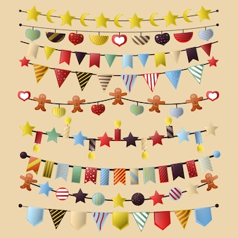 Colorful bunting and garland set isolated on white