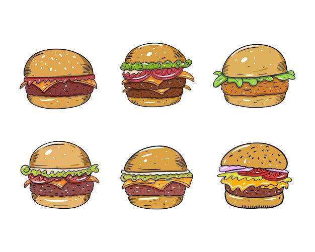 다채로운 햄버거 세트. 플랫. 만화 스타일. 흰색 배경에 고립. 머그잔, 블로그, 카드, 포스터, 배너 및 티셔츠에 대한 텍스트 디자인을 스케치하십시오.