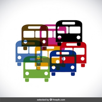 Colorful bus silhouettes