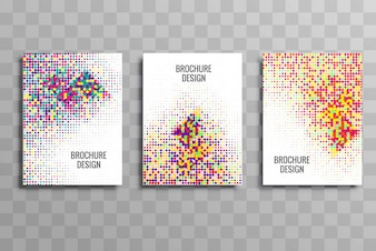 Colorful business brochure dotted template set design