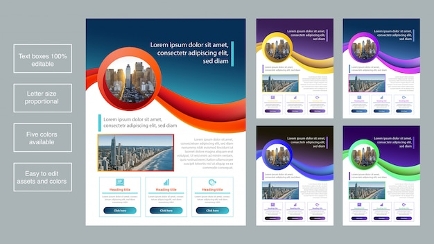 Colorful business brochure template collection