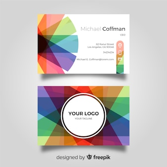 Colorful business card concept