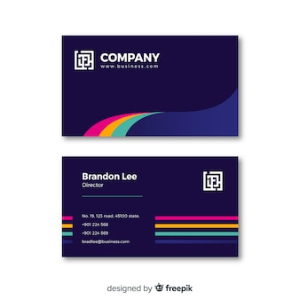 Colorful business card template in abstract style