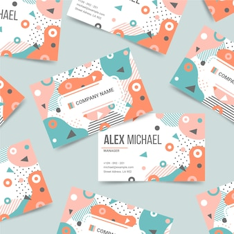 Colorful business card template in memphis style