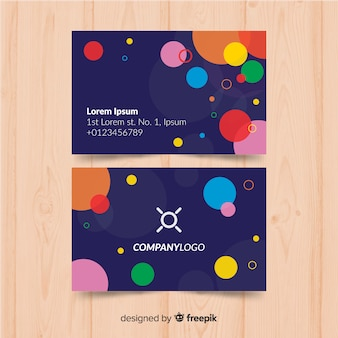 Colorful business card template with circles