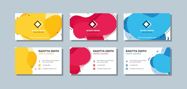 Colorful business card template with flat color and overlay waves.
