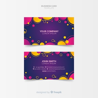 Colorful business card template with geometric design