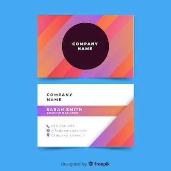 Colorful business card template with geometric shapes