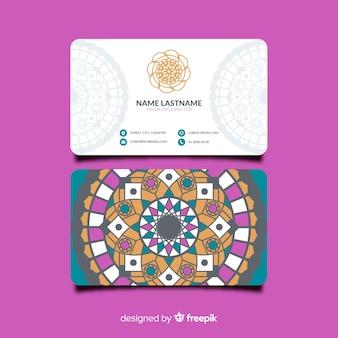 Шаблон с цветной визитной карточкой с мандалой