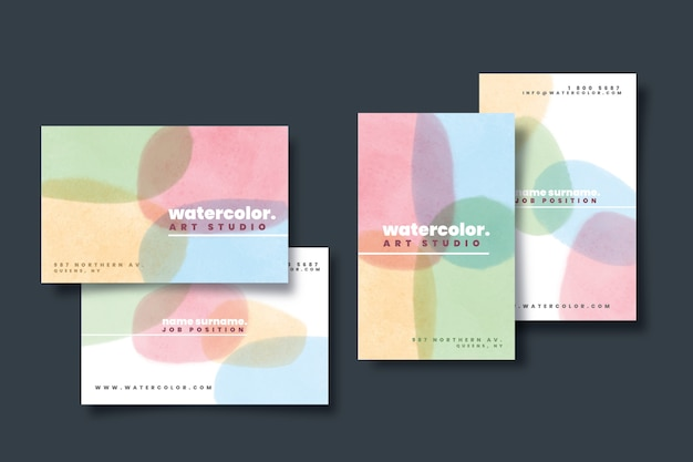 Colorful business card template with pastel-colored stains