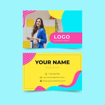 Colorful business card template with photo