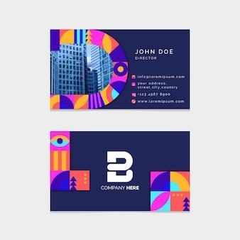 Красочный шаблон визитной карточки с фото