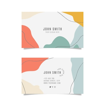 Colorful business card with abstract shapes set