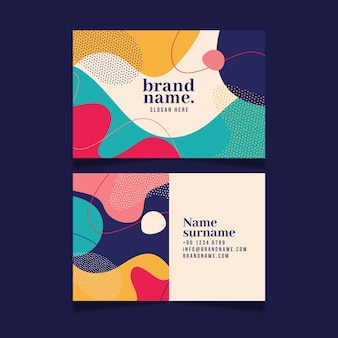 Colorful business card with different shapes in memphis style