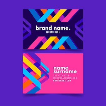Colorful business card with different shapes